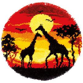 Knooptapijt Giraf sunset ca. d: 55cm