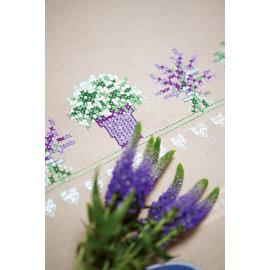 Tafelloper voorgetekend lavendel 40x100cm