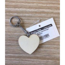 Houten sleutelhanger hartvorm