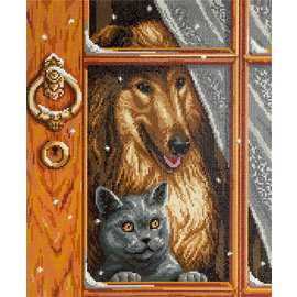 Diamond Painting Cat and Dog 33 x 40 cm