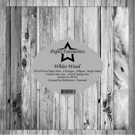 Paper Pack 30,5x30,5cm  8 designs 200g/m² Thite Wood