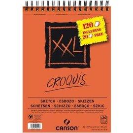 "Canson Canson: Schetsblok ""XXL"" A3 (297x420mm) 90g, 120 vel - Wit (100+20 vel gratis)"