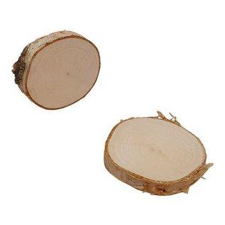 Boomschorsschijf rond berkenhout ; Diameter +/- 9-10cm