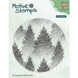 Nellie's Choice Christmas Silhouette Clearstamp Mistig Bos D; 8cm