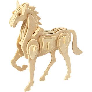 3D Houten constructie set paard afm 18x4,5x16 cm triplex 1st