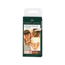 """Faber-Castell Tekenstift Faber-Castell Pen Brush """"Portret"""" etui á 6 stuks"""