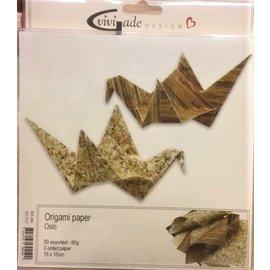 Origami papier, 15x15 cm, 80 gr, 50 assorti vel