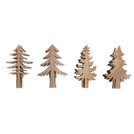 Houten dennenboom op knijper 2.5x5.2cm - 3.5x5.2cm 4st.