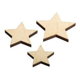 Rayher Houten sterren naturel 8st.