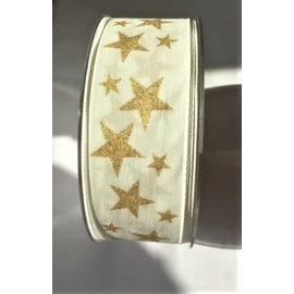 lint sterren wit-goud 40mm per meter