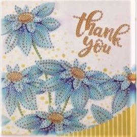Diamond Painting kaart - Thank you Bloemen