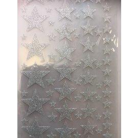 Stickers sterren zilver 14x25cm