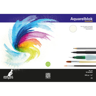Blok aquarelpapier Kangaro A3 300 gr 16 vel, roomwit 3 zijden gelijmd