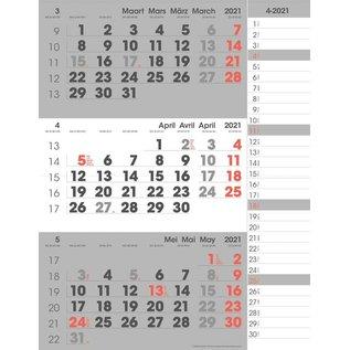 3 Maand compact notes 2021 - formaat 291 x 385 mm 4-talig + schrijfruimte