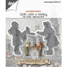 Colouring stencil - Anton Pieck - Meisje-Aapje