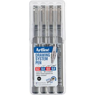 Artline, Etui 4st., 0.2-0.4-0.6-0.8mm