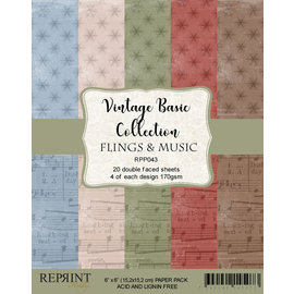 Paperpack size 6x6 170gsm Vintage basic Flings and Music