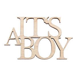 """Houten minitekst """"It's A Boy"""" 4st."""