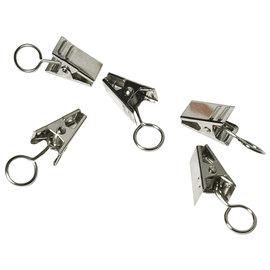 Metalen clip met oogje, platina 18mm, 18st.