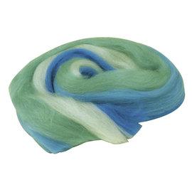 Merino schuurwol, multicolor, in streng, Turquoise-blauw, 50g.