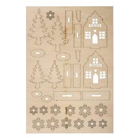 """Rayher Houten bouwset """"winterhuis"""" 8cm hoog"""