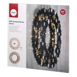 Houten ornamentkrans, sterren, 35cm