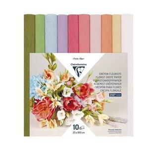 Clairefontaine Bloemist crêpepapier 10 rollen 25x100cm, Pastel