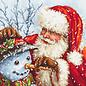 Borduurpakket Santa Claus and Snowman 25 x 25 cm