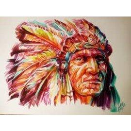 Diamond Painting ronde steentjes indianen gezicht
