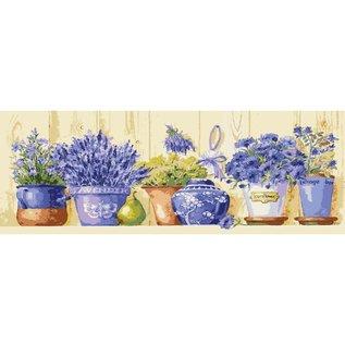 """Collection d'art Bedrukt stramien """"Bloemen"""" 35 x 80 cm."""