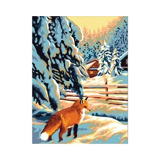 """Collection d'art Bedrukt stramien """"Vos in winterlatschap"""" 40x50cm"""