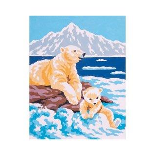 """Collection d'art Bedrukt stramien """"Ijsberen"""" 20x25cm"""