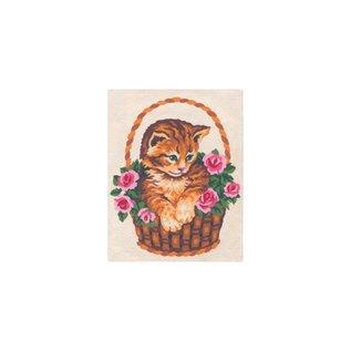 """Collection d'art Bedrukt stramien """"Poes tussen bloemen"""""""
