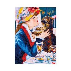 """Collection d'art Bedrukt stramien """"Dame met hond"""" 30x40"""