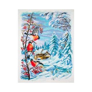 """Collection d'art Bedrukt stramien """"Winterlandschap met vogeltjes"""" 29x40cm"""