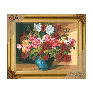 """Collection d'art Bedrukt stramien kit """"bloemen"""" 38x24cm"""