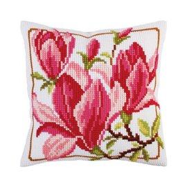 """Collection d'art Kruissteekkussen voorgedrukt """"Magnolia flowers"""" 40x40cm"""