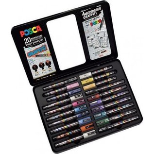 """POSCA **Box met 20 POSCA stiften """"Voorbeeldbladen Graffiti"""""""