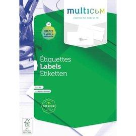 Multicom Multicom Etiketten A4 100vel zelfklevend 105x42,4mm wit
