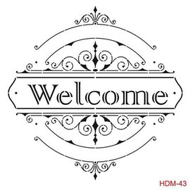 CADENCE Art & Hobby Stencil HDM - ornament tekst welcome 25X25cm