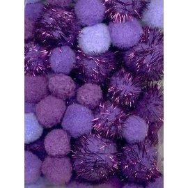 Mix PomPom Set paars incl glitter 50 ST 2 cm, 2.5 cm, 3.5 cm