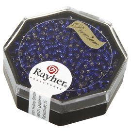 Rayher Premium-rocailles 2,2mm bleu royal 12g, met zilverkem