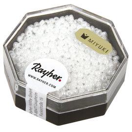Rayher Premium-rocailles 2,2mm albastwit 8g opaak lustré