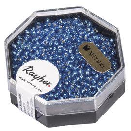 Rayher Premium-rocailles 2,2 mm azuurblauw 12g met zilverkern