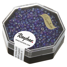 Rayher Premium-rocailles 2,2mm ultra blauw 8g. transparent Rainbow