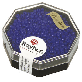 Rayher Premium-rocailles 2,2 mm Royal blauw 12g, opaque