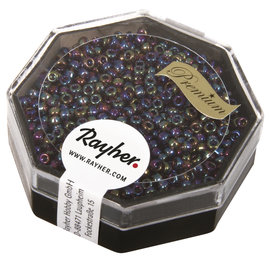 Rayher Premium-rocailles 2,2 mm orchidee 8g. transparent Rainbow