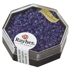 Rayher Delica-rocailles 2,2 mm royalblauw 9g. transparent Rainbow mat