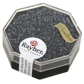 Rayher Delica-rocailles 1,6mm metallic mat blauw-grijs 6 g