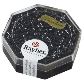 Rayher Delica-rocailles, 2,2mm anthracit 9g. metallic